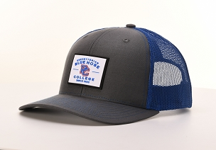 Presbyterian College Blue Hose Rubber Patch Trucker Hat - Charcoal & Royal