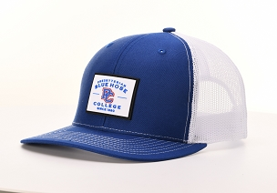 Presbyterian College Blue Hose Rubber Patch Trucker Hat - Royal & White