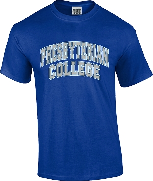 Arched Presbyterian College T Shirt - maroon