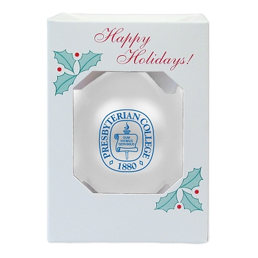 Christmas Ornament - Presbyterian College Seal - White